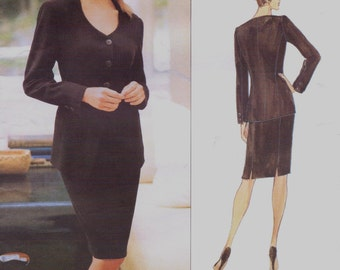 DKNY Womens Cardigan Style Jacket and Pencil Skirt Vogue Sewing Pattern 1705 Size 12 14 16 Bust 34 36 38 UnCut American Designer