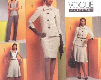 Womens Jacket, Top, Dress, Skirt & Pants OOP Vogue Sewing Pattern V1068 Size 6 8 10 12 Bust 30 1/2 to 34 UnCut Vogue Wardrobe Pattern