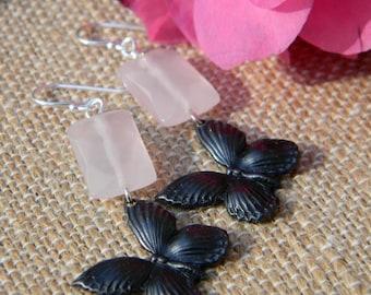 Butterfly earrings pink glass dangle earrings insect jewelry summer fashion beaded jewelry handmade earrings songbird cabin designs