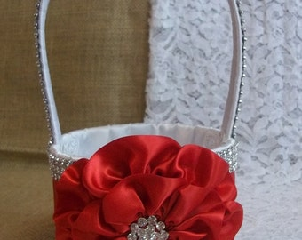 Red & White Flower Girl Basket with Rhinestone Mesh handle and Trim, Lots of Bling, Custom Made to Order