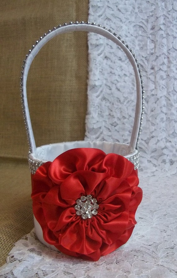 Red and white flower girl baskets olivero items similar to red white flower girl basket with mightylinksfo