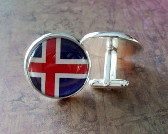 ICELANDIC FLAG Cufflinks / National Flag of ICELAND / Country Flag Cuff links / Groomsmen Gift / Patriotic cufflinks / Iceland Cufflinks