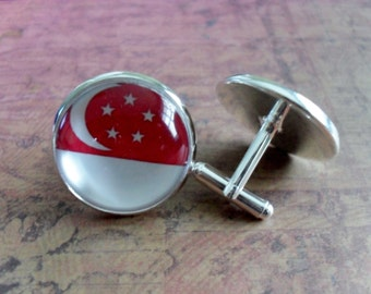 SINGAPOREAN FLAG Silver Cufflinks// National Flag of SINGAPORE // Father's Day // Groomsmen Gift // Wedding //Patriotic