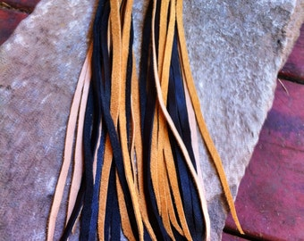 Vintage Leather  earrings super long and fun )'(