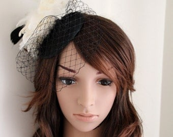Wedding Bridal Races Ivory Cream Black Feather Veiling Sinamay Hair Comb Fascinator Melbourne Cup Millinery Accessory