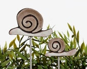 Snail garden art - plant stake - garden decor - snail ornament  - ceramic snail - small - brown