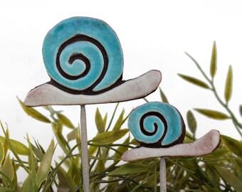 Snail garden art - plant stake - garden decor - snail ornament  - ceramic snail - small - turquoise
