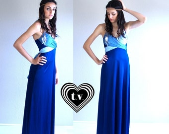 vtg 70s blue ombre GRECIAN GODDESS wrap Maxi DRESS xs open back hippie gown