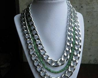 Silver Curb Chain & Seafoam Green