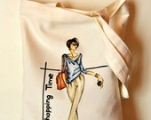 Handpainted canvas tote, handpainted tote fashion sketch, Canvas tote bag, tote fashion sketch, ooak - Lemiecreazionidarte