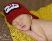 Firefighter Newborn Hat in Soft Hand-Dyed Alpaca Photo Prop