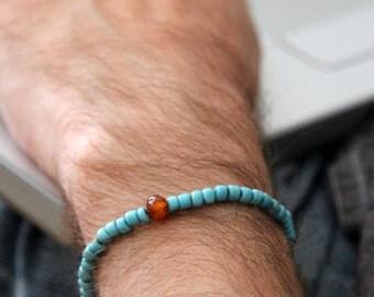 amber lagoon mens bracelet -  old blue bracelet with Baltic amber center for men - Maria Helena Design