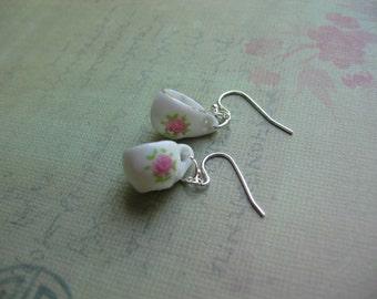 Little Porcelain Tea Cup Silver Earrings - Tea Cup Earrings - Tea Cup Jewelry - Tea Party Jewerly - On Sale Today