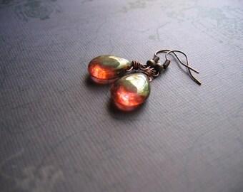 Rose Teardrop Earrings - Wire Wrapped Rose Gold Teardrop Vintage Copper Earrings - Handmade Artisan Jewelry