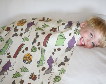 Organic Camping Themed Toddler Blanket - Tents, S'mores, Camper Vans, Canoe, Boots, Backpack Camper Blanket