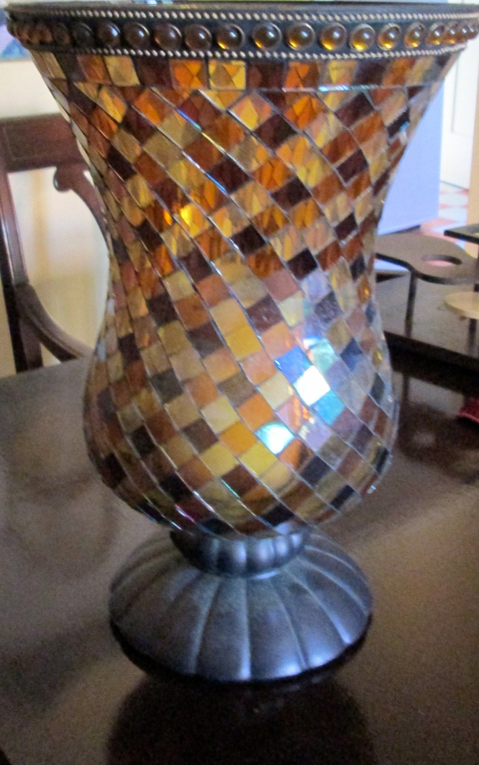 70s Stain Glass Mosaic Hurricane Candle Holder Partylite