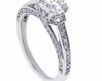 1.05CT Diamond Engagement Ring 14K White Gold
