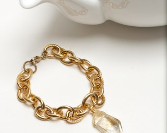 Gold Plated Brass Citrine Bracelet