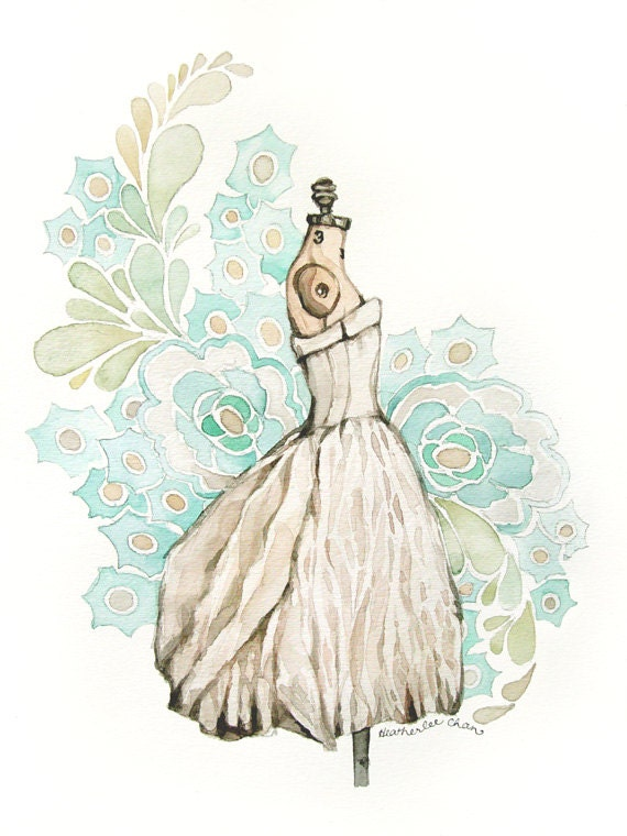 Dress Watercolor Painting - Original - Turquoise Gray White - 9 x 12