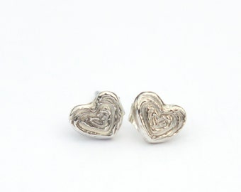 Silver Heart Earrings- Recycled Sterling Silver