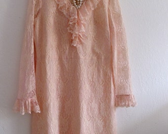 Vintage Women Peach Lace Dress Medium Large