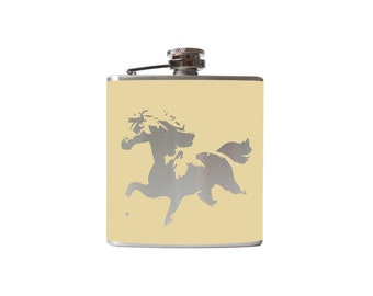 Running Horse FLASK- alcohol, whiskey, wedding, bridal party- Personalized- You pick Color