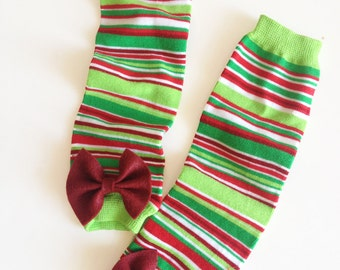 Christmas Stripe Baby Leg Warmers with Bow - Pick Your Own Color