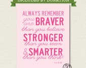 BREAST CANCER AWARENESS Always Remember You Are Braver Than You Believe 8x10 Print - Pink