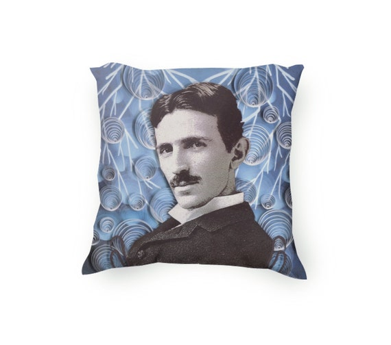 Nikola Tesla Decorative Throw Pillow, Paper Quilling and Etching Illustration, blue pillow, Velveteen Pillow Cover Only