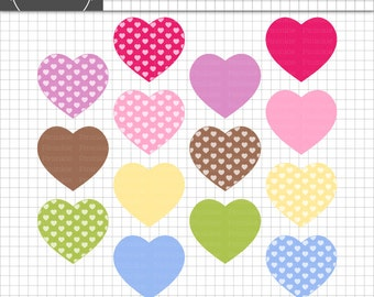 Valentine Clip Art Hearts, Instant Download, Digital Clip Art, Pastel Heart Clipart, Scrapbooking Heart, Commercial Use