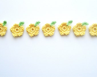 Crochet Flowers & Leaves, Garden / Meadow Appliques, Tiny Cute Yellow Flowers, Spring Green Crochet Leaves, Decorative Motifs, Set of 7