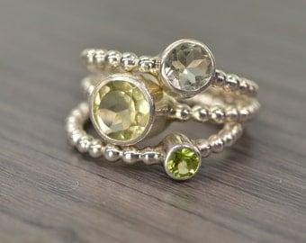 Prasiolite Lemon Quartz Peridot Stack Rings, silver gold trio stacking stackable jewelry - Carmine Rings