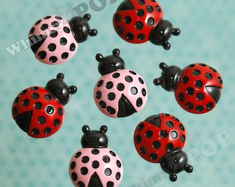 4 - Pink Black Red Ladybug Flatback Cabochons, Ladybug Cabochons, 20mm x 27mm (R5-093)