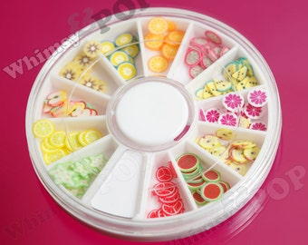 1 - Nail Art Wheel Fimo Fruit Slices, Fruit Nail Decorations, Nail Decals (C1-25)