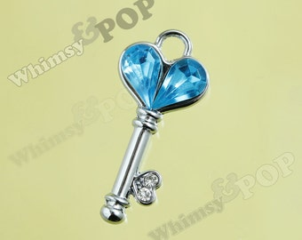 1 - Crystal Rhinestone Blue Heart Skeleton Key Pendant Style Charms, Skeleton Key Charms, 27mm x 14mm (4-4E)