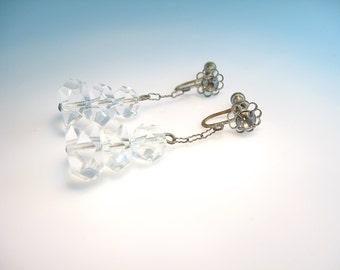 Art Deco Earrings. Hand Cut Crystal Dangles. Rhinestone Flower Screw Backs. Vintage 1920s Wedding Jewelry.