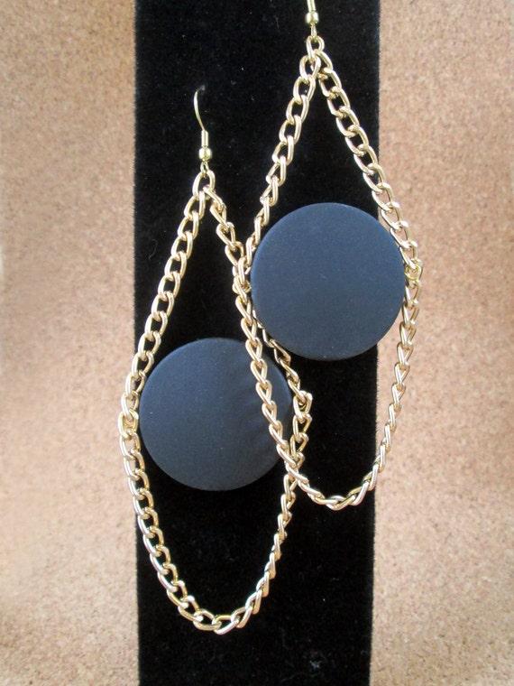 Black geometric earrings, modern, statement, black and gold tone shoulder dusters, dimensional
