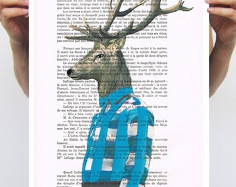 Animal painting drawing illustration portrait painting mixed media digital print POSTER 11x16:  Mr Deer in blue shirt, coco