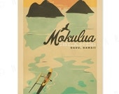 Mokulua Islands, Oahu - 12x18 Retro Hawaii Print
