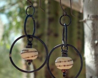 Hoop Earrings, Lampwork Glass Beads