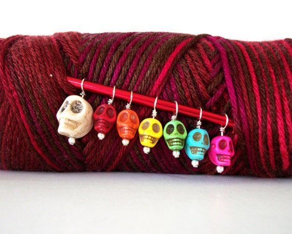 Goth Skulls Knitting Stitch Markers Set of 7 Colorful Skulls Dia de los Muertos Dyed Howlite