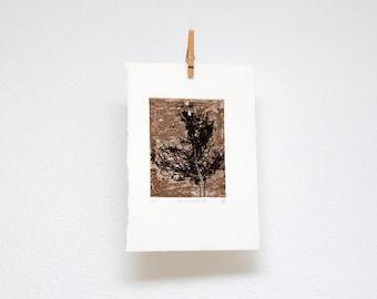 Tree silhouette no. III, etching, hand printed, original wall art, woodland print
