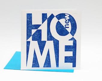 Letterpress card New Home, verhuiskaart, hand printed woodcut