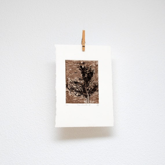 Tree silhouette no. III, etching, hand printed, original wall art, woodland print