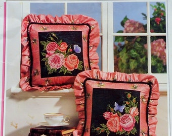 Brenda Blessing CABBAGE ROSE PILLOWS By Color Charts - Counted Cross Stitch Pattern