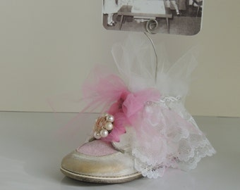 Shabby Chic Nursery Decor Altered Baby Shoe Picture Holder Pink