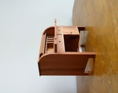 Vintage miniature wood Shackman dollhouse roll top desk  - Japan