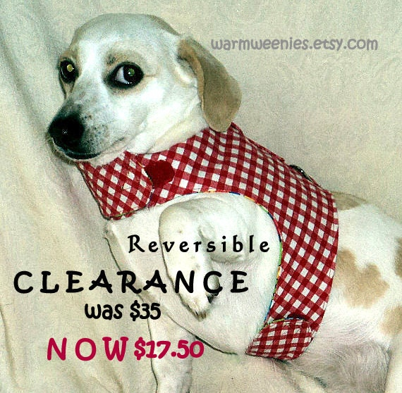 CLEARANCE Small dog harness adjustable red gingham reverses to green nursery print handmade pets clothing