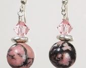 Pink Rhodonite with Pink crystal earrings accented with Silver Spacers silver filled ear wires