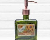Sunflower Soap Dispenser | French Country Farmhouse Decor | Green Hand Soap Dispensers | Chrome Copper Stainless Bronze Soap Pump